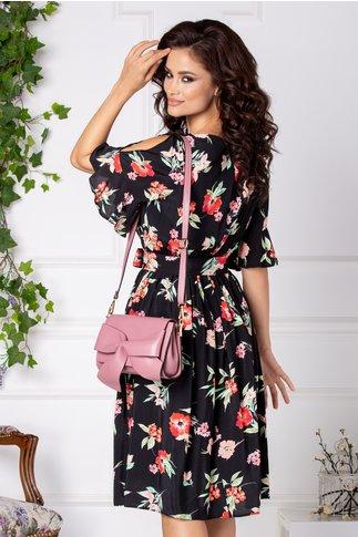 Rochie Erin midi neagra cu flori corai si roz
