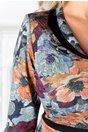 Rochie Ermin negru cu imprimeu floral colorat