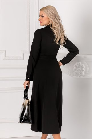 Rochie Ersilia neagra cu aspect petrecut si nasturi