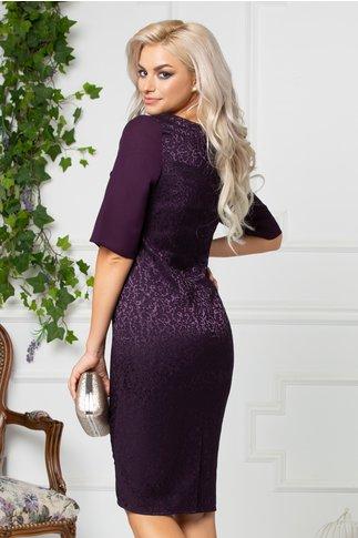 Rochie Esme violet cu brosa