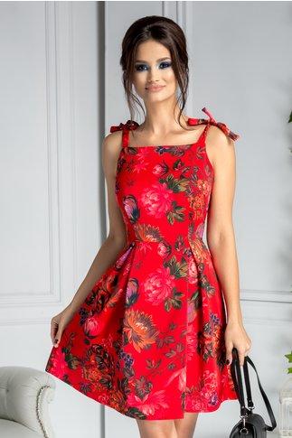 Rochie Esmerlada rosie cu imprimeu floral