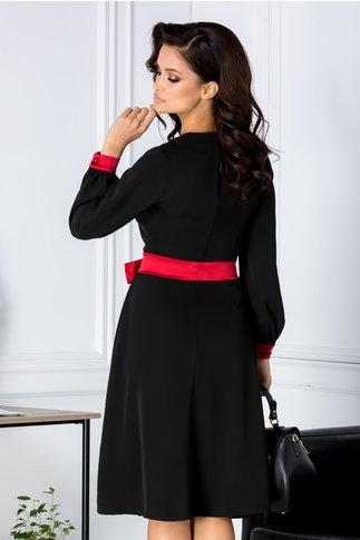 Rochie Estefania neagra cu cordon rosu in talie