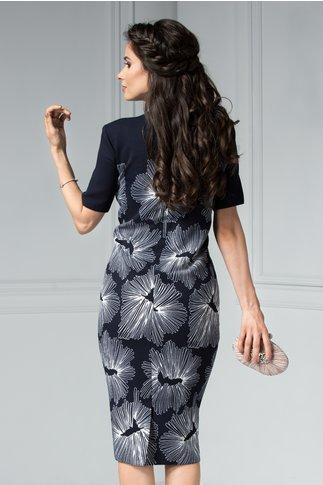Rochie Ester bleumarin cu aplicatii la guler si imprimeu floral alb