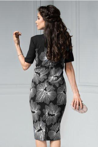 Rochie Ester neagra cu aplicatii la guler si imprimeu floral alb