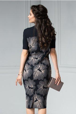 Rochie Ester neagra cu aplicatii la guler si imprimeu floral bej