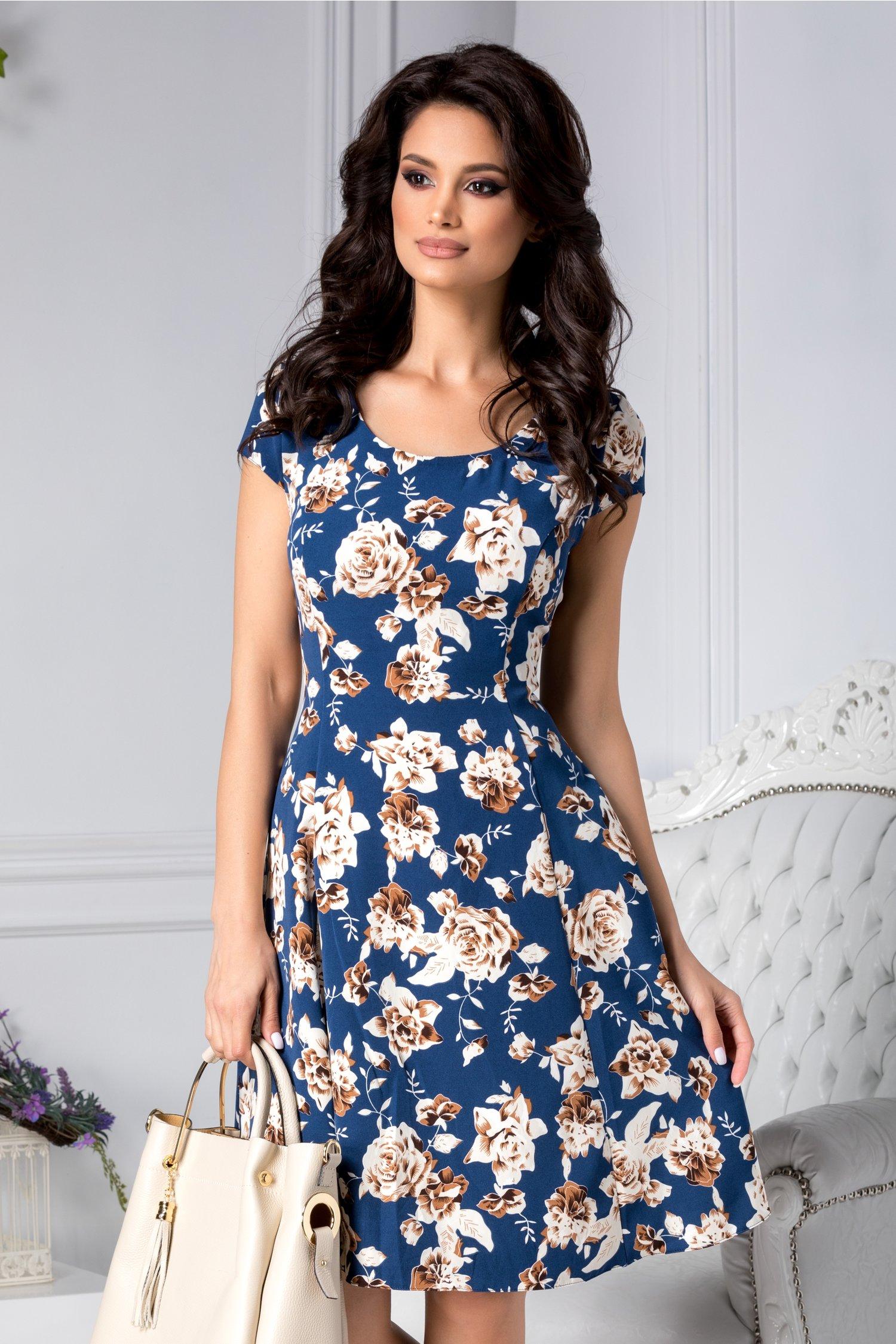 Rochie Ethel bleumarin cu trandafiri maro de zi