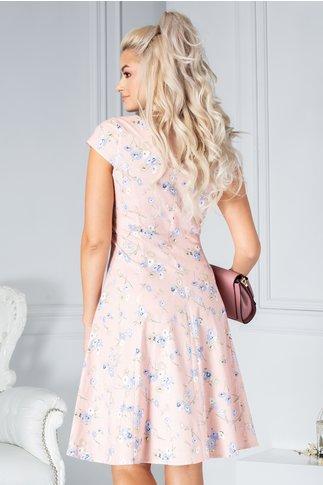 Rochie Ethel clos roz cu floricele bleu