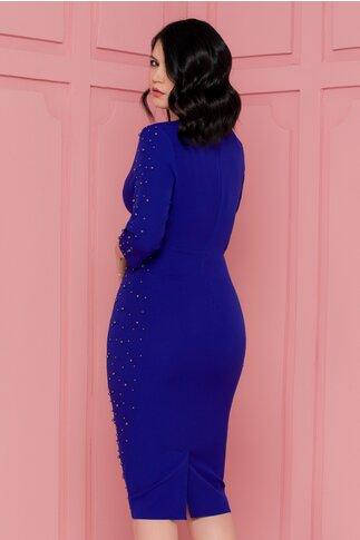 Rochie Eva albastra accesorizata cu perlute