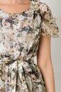 Rochie Eva bej din voal cu imprimeu floral