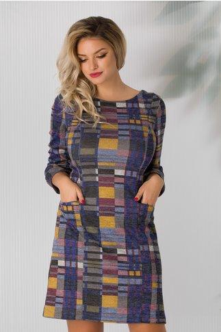 Rochie Eva cu model geometric multicolor