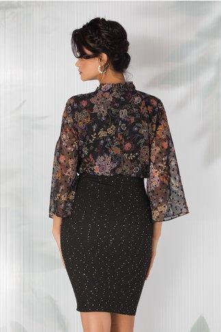 Rochie Eva neagra cu imprimeu floral stil mandala si guler incretit