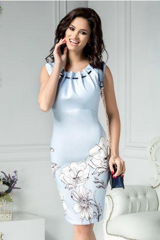 Rochie Eva office bleu cu flori albe mari