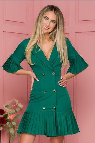 Rochie Eva verde cu volane plisate design petrecut cu nasturi