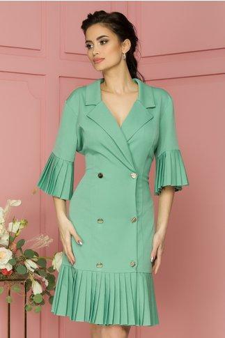 Rochie Eva verde pal cu volane plisate design petrecut cu nasturi