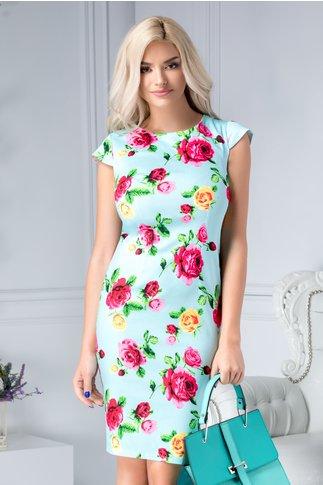 Rochie Evelina bleu cu trandafiri fucsia