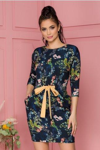 Rochie Eveline bleumarin cu imprimeuri florale si cordon in talie