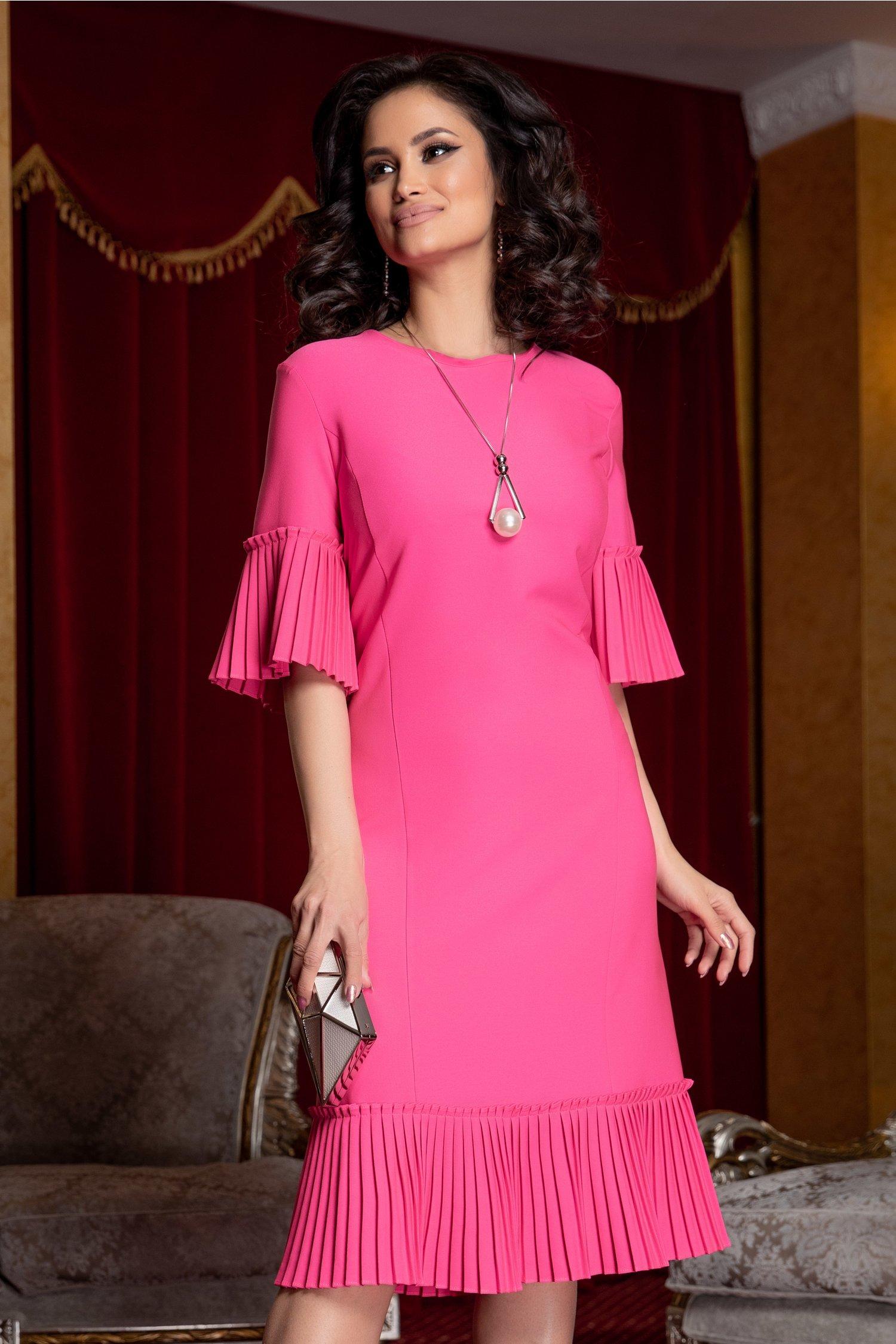 Rochie Eveline roz neon cu volane plisate