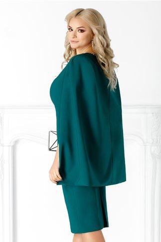 Rochie Eveline verde de ocazie cu capa