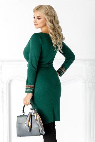Rochie Evi verde cu detalii traditionale