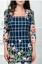Rochie Evren midi bleumarin cu imprimeuri florale