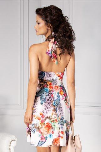 Rochie  Ezia alba de vara cu imprimeu floral