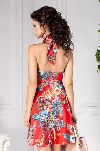 Rochie Ezia rosie de vara cu imprimeu floral