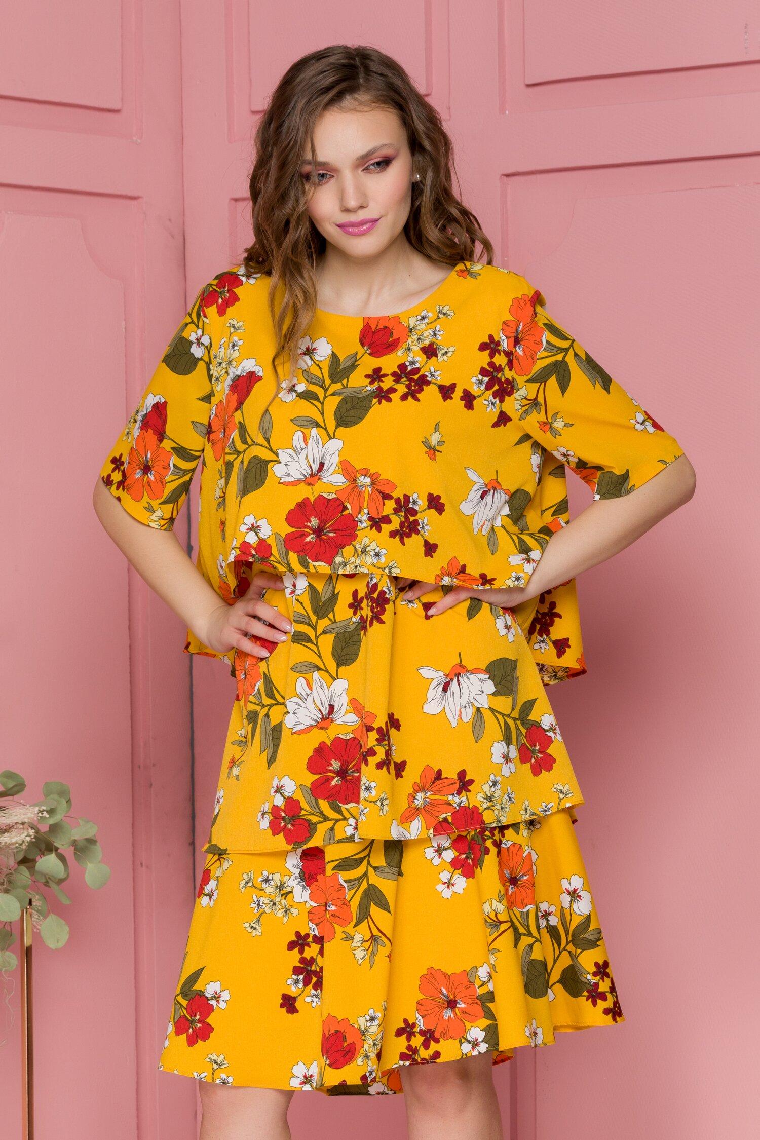Rochie Fabi vaporoasa galbena cu imprimeuri florale
