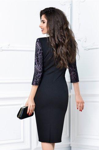 Rochie Fabia negru cu lila de ocazie cu buzunare