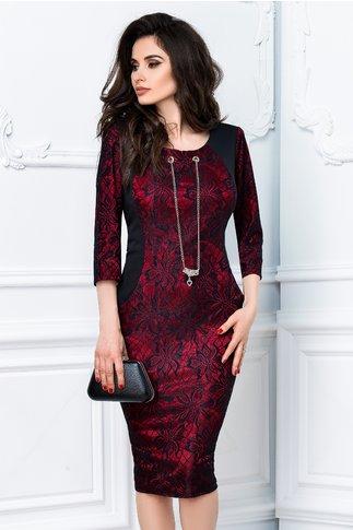Rochie Fabia negru cu rosu de ocazie cu buzunare