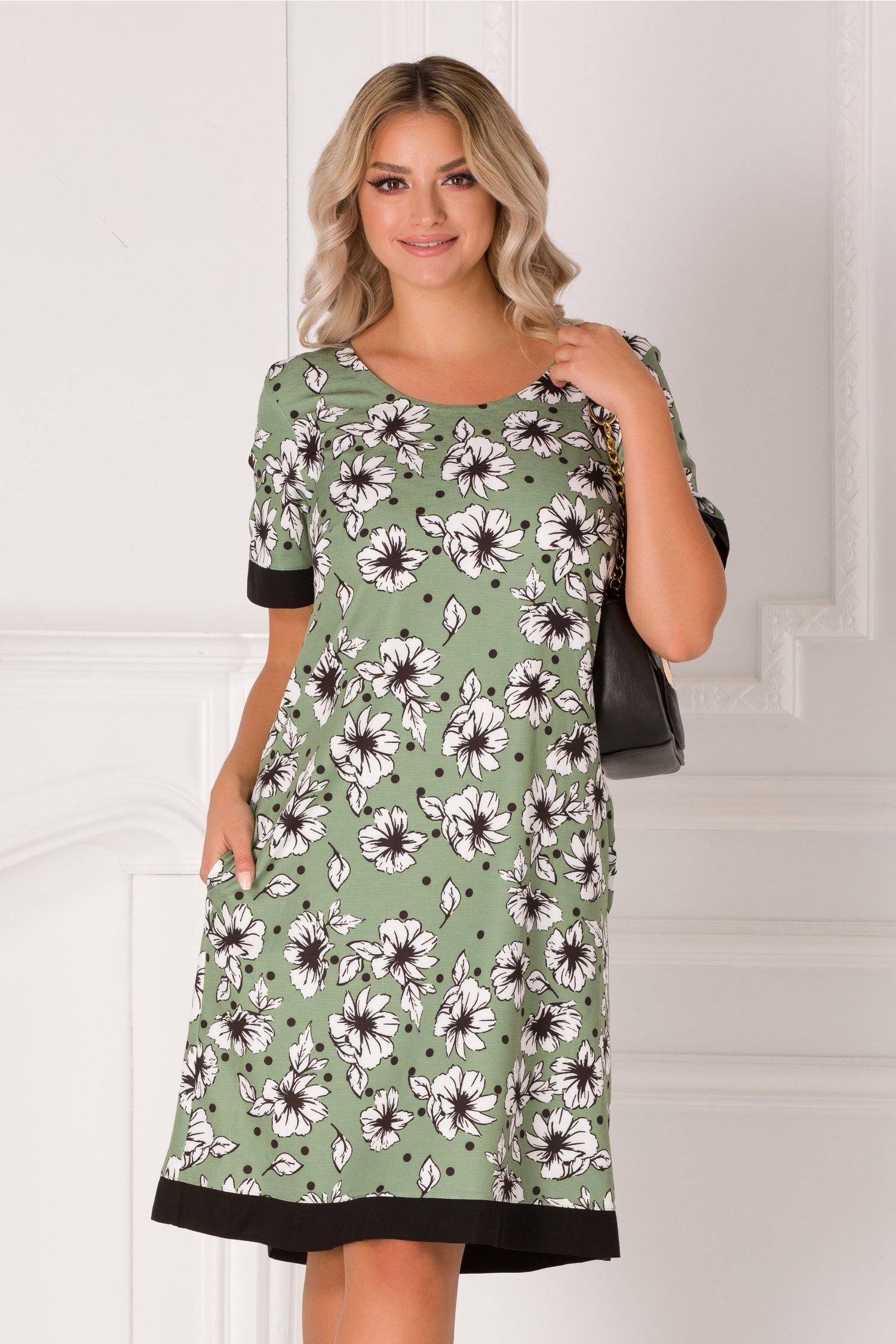 Rochie Fabiana verde cu imprimeu floral alb