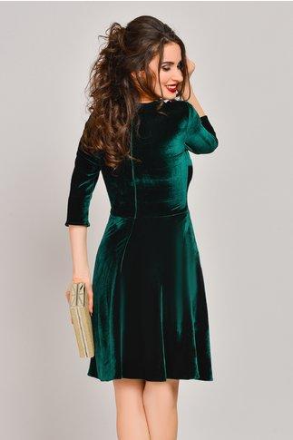Rochie Fabiola verde din catifea cu broderie