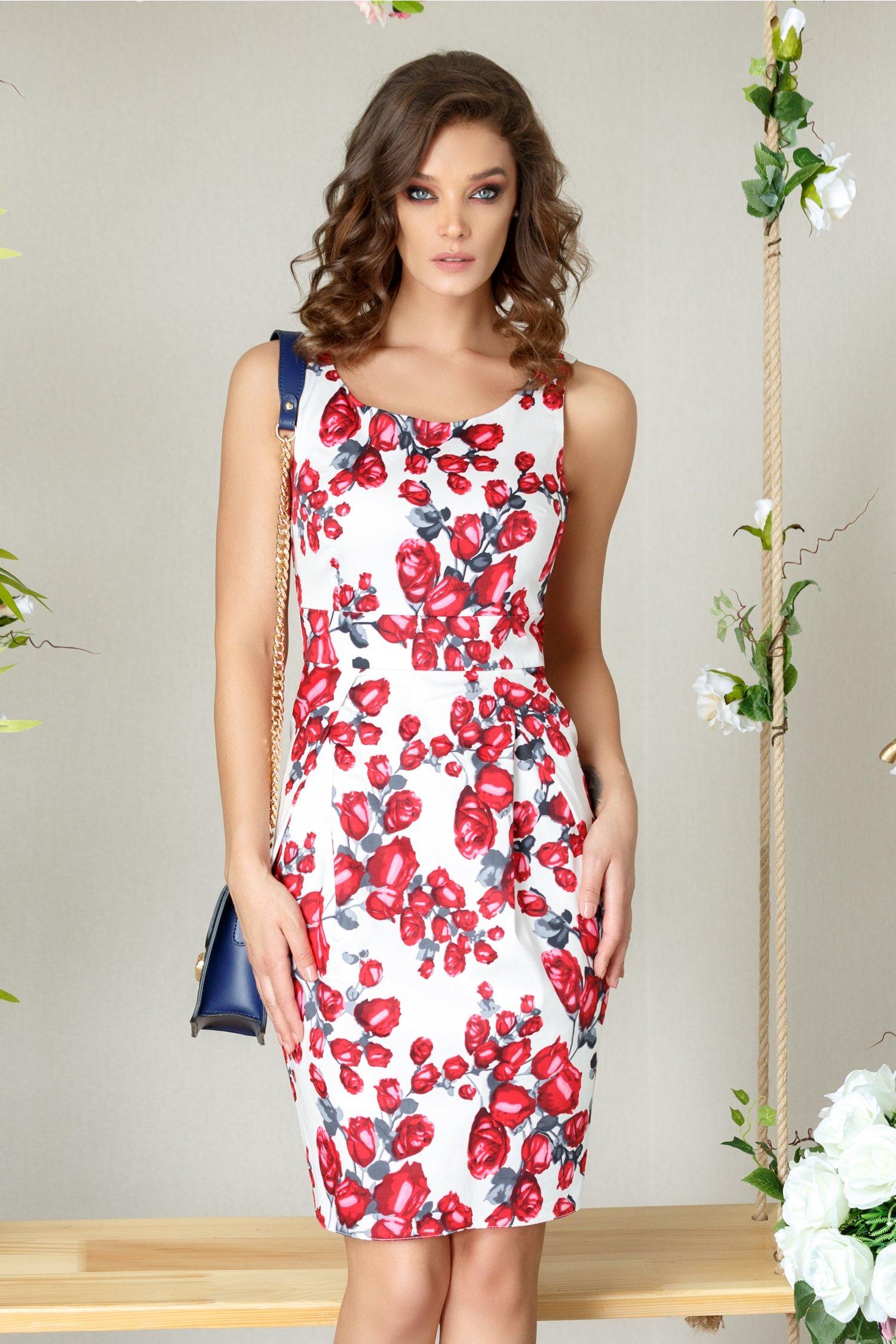 Rochie Fairy alba cu trandafiri rozalii