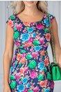 Rochie Fairy de zi bleumarin cu flori colorate si manecute