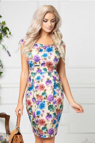 Rochie Fairy de zi crem cu flori colorate si manecute