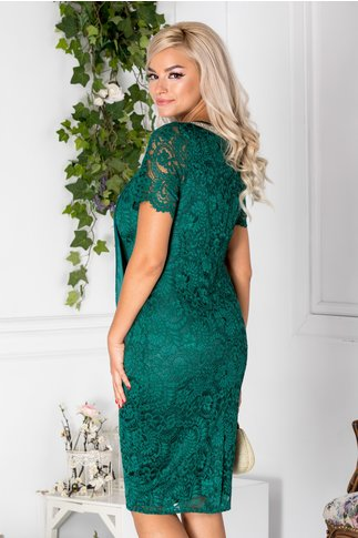 Rochie Fancy verde deschis din dantela cu voal