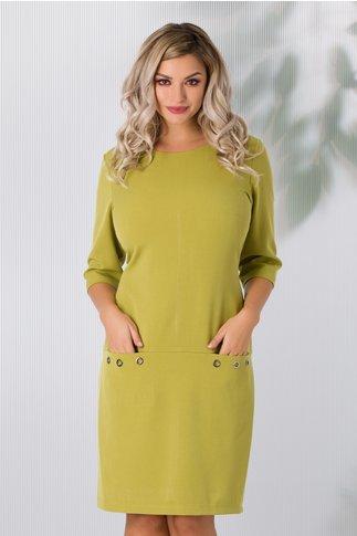 Rochie Fancy verde lime cu buzunare