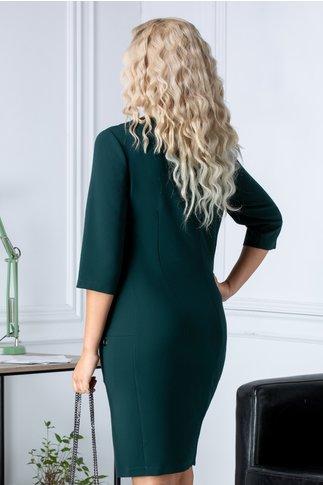 Rochie Fancy verde midi office cu buzunare