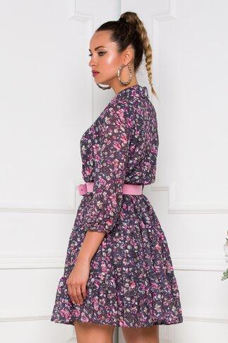 Rochie Fanny gri cu imprimeu floral in nuante de roz
