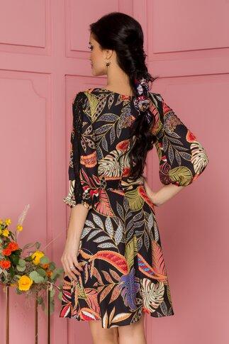 Rochie Fanny neagra cu imprimeu floral viu colorat si insertii din dantela pe maneca