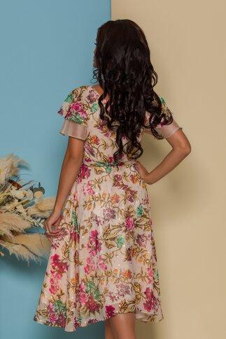 Rochie FanyLux bej cu imprimeuri florale si insertii aurii