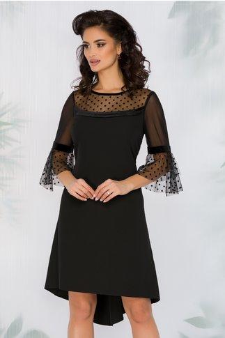 Rochie FanyLux neagra cu insertii din catifea
