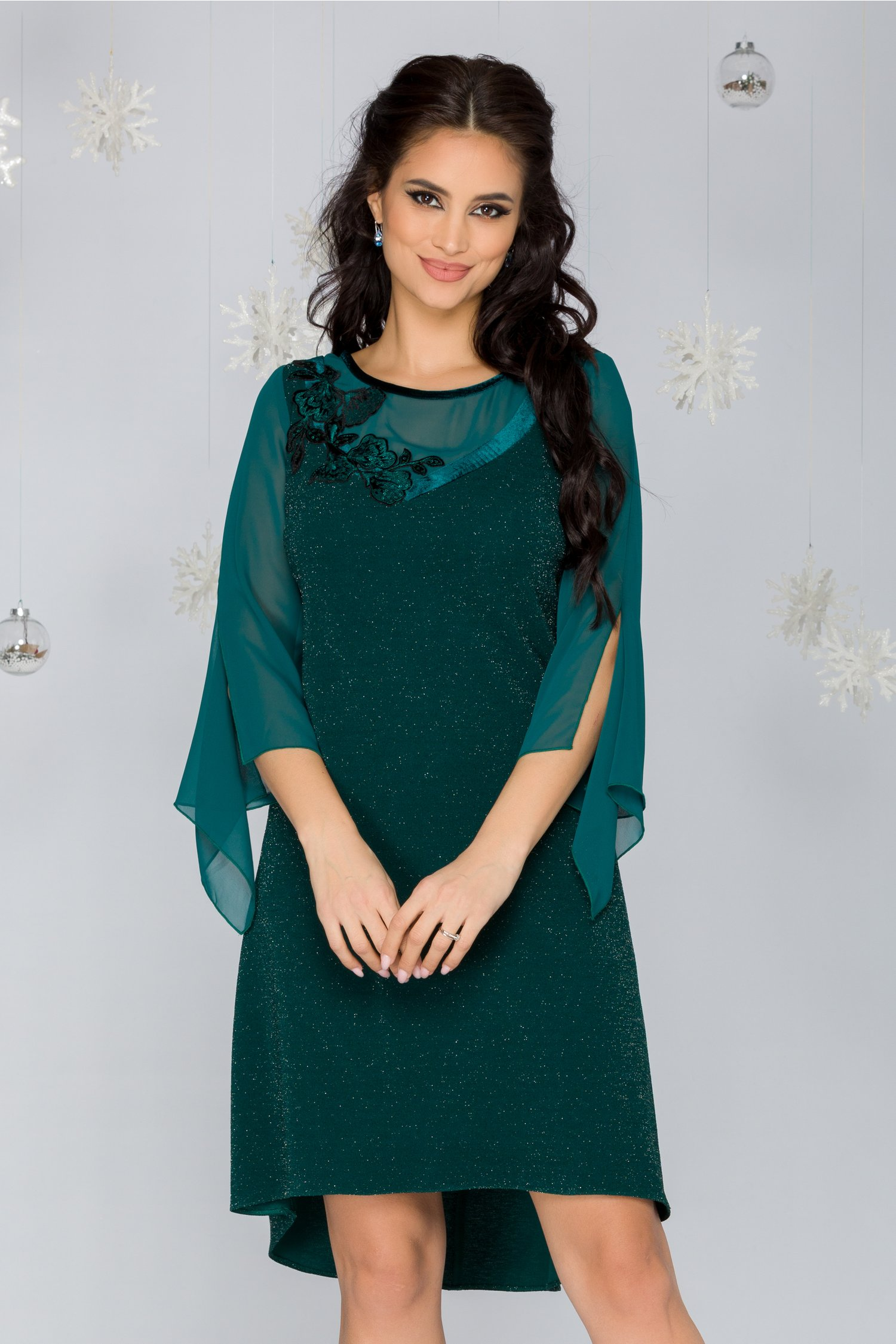 Rochie FanyLux verde din lurex cu catifea si broderie florala la bust