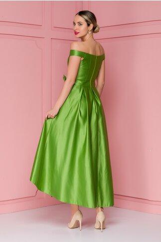 Rochie FanyLux verde din tafta cu funda in talie