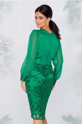Rochie Fathia verde cu decolteu petrecut