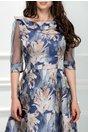 Rochie Fedora albastra cu imprimeu crem