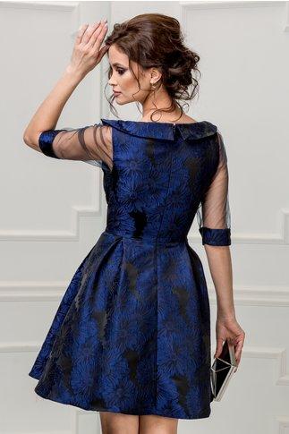 Rochie Fedora neagra cu imprimeu albastru