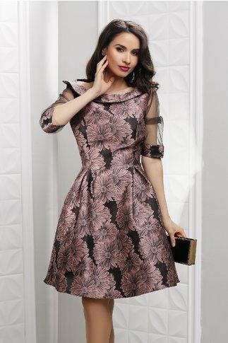 Rochie Fedora neagra cu imprimeu floral roz