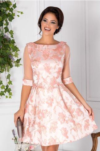 Rochie Fedora roz cu imprimeu auriu