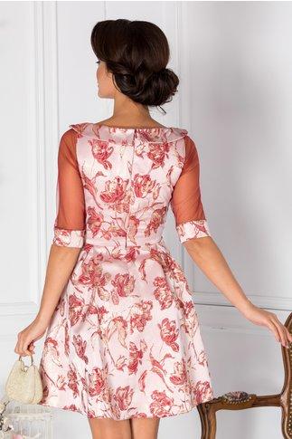 Rochie Fedora roz cu imprimeu grena si auriu