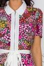Rochie Feli neagra cu imprimeu floral in nuante de roz
